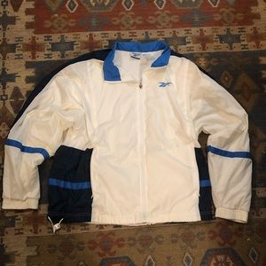 Vintage Reebok white and blue track jacket XL